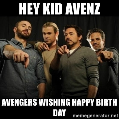 avengers pointing - Hey kid avenz Avengers wishing Happy birth day