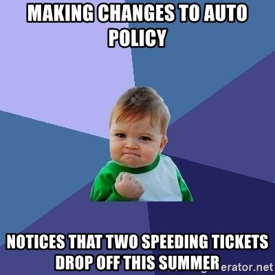 Success Kid - Making changes to auto policy Notices that two speeding tickets drop off this summer