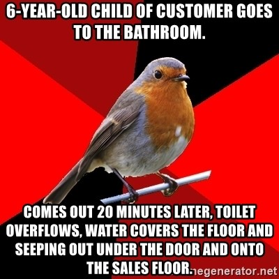 Retail Robin - 6-year-old child of customer goes to the bathroom. comes out 20 minutes later, toilet overflows, water covers the floor and seeping out under the door and onto the sales floor.