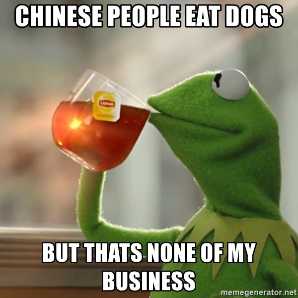 Kermit The Frog Drinking Tea - Chinese people eat dogs but thats none of my business