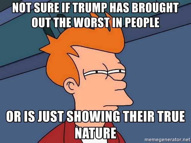 Futurama Fry - Not sure if trump has brought out the worst in people  Or is just showing their true nature