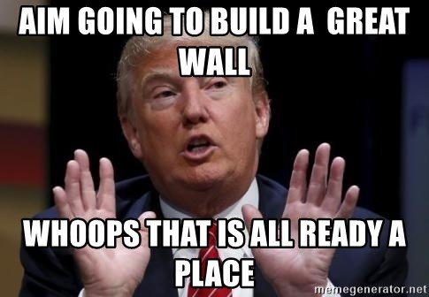 Donald Trump Hates China - aim going to build a  Great Wall whoops that is all ready a place