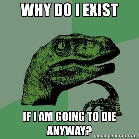 Philosoraptor - WHY DO I EXIST If I am going to die anyway?
