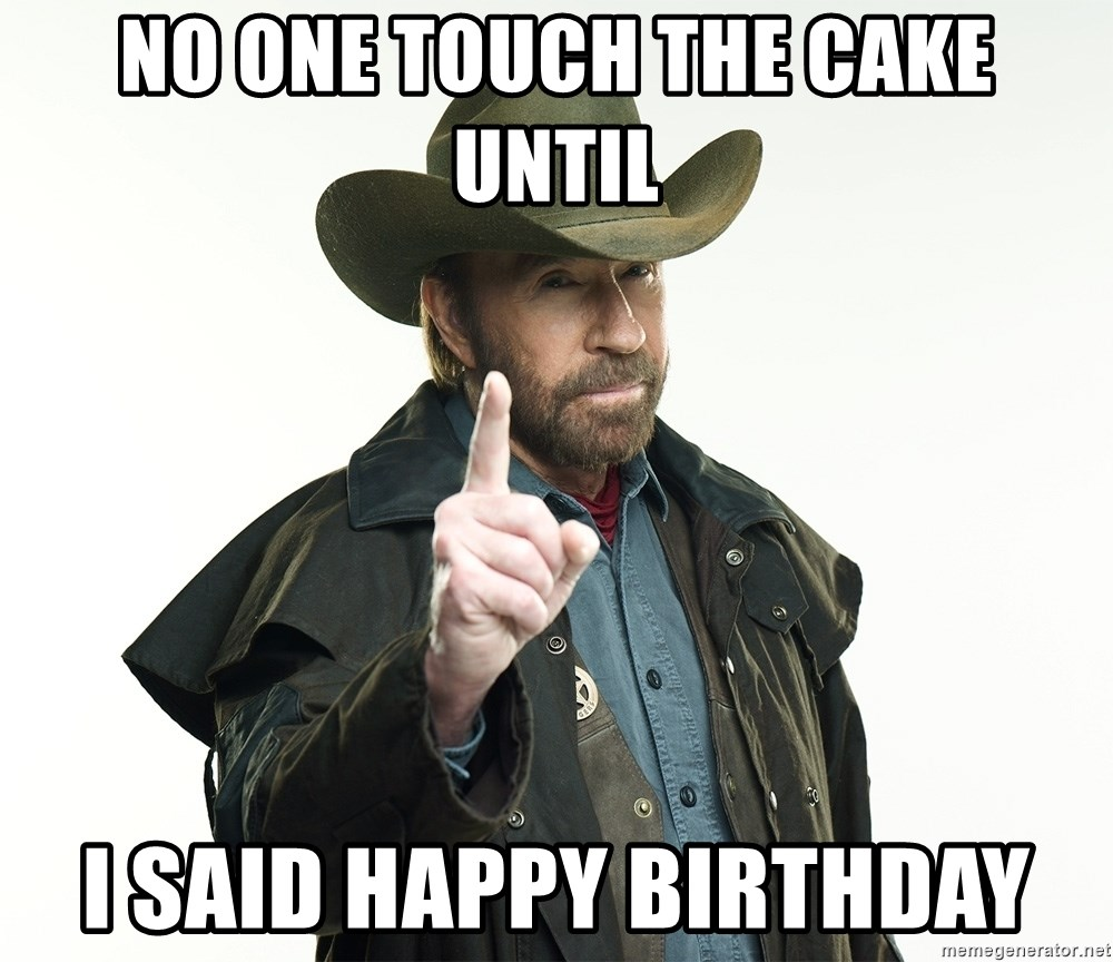 Awesome No One Touch The Cake Until I Said Happy Birthday Chuck Norris Funny Birthday Cards Online Alyptdamsfinfo