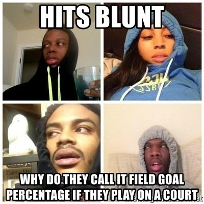 Hits Blunts - Hits blunt Why do they call it field goal percentage if they play on a court