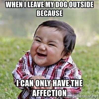 evil toddler kid2 - when i leave my dog outside because i can only have the affection