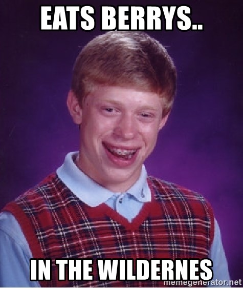 Bad Luck Brian - eats berrys.. in the wildernes