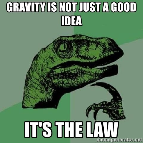 Philosoraptor - Gravity is not just a good idea it's the law