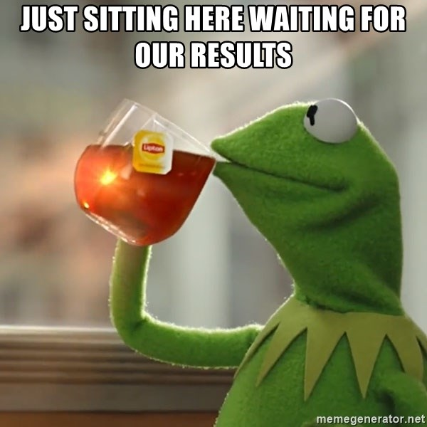 Kermit The Frog Drinking Tea - Just sitting here waiting for our results