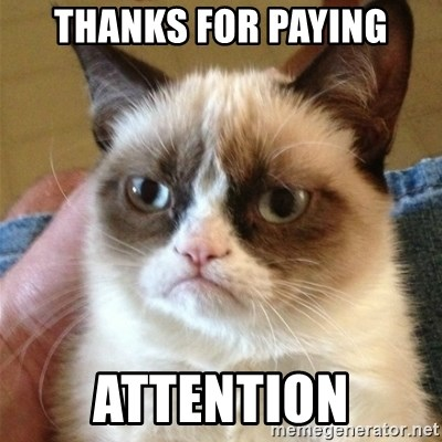 Grumpy Cat  - THANKS FOR PAYING ATTENTION