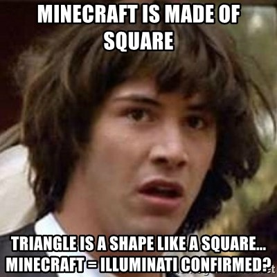 Minecraft is made of square Triangle is a shape like a