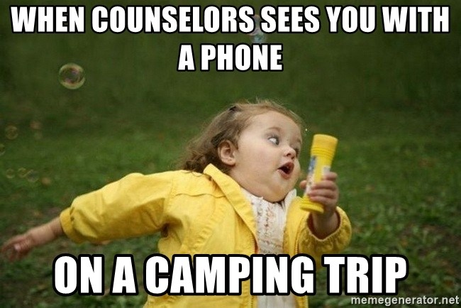 Little girl running away - When counselors sees you with a phone on a camping trip