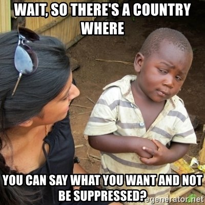 Skeptical 3rd World Kid - Wait, so there's a country where you can say what you want and not be suppressed?