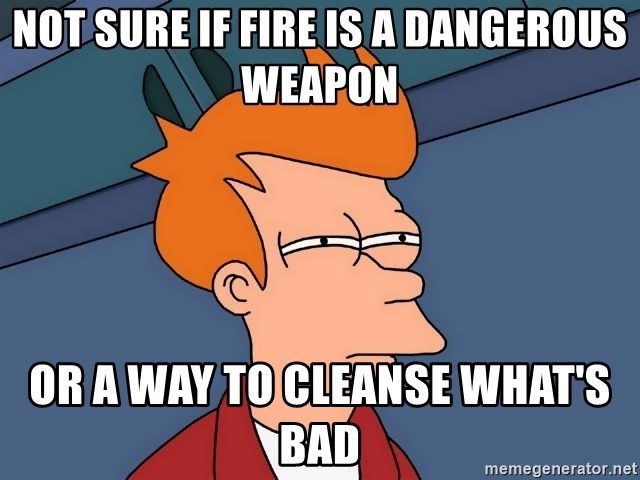 Futurama Fry - Not sure if fire is a dangerous weapon Or a way to cleanse what's bad