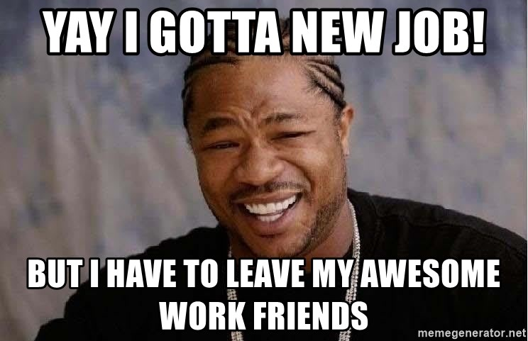 Yo Dawg - Yay I gotta new job!  But I have to leave my awesome work friends