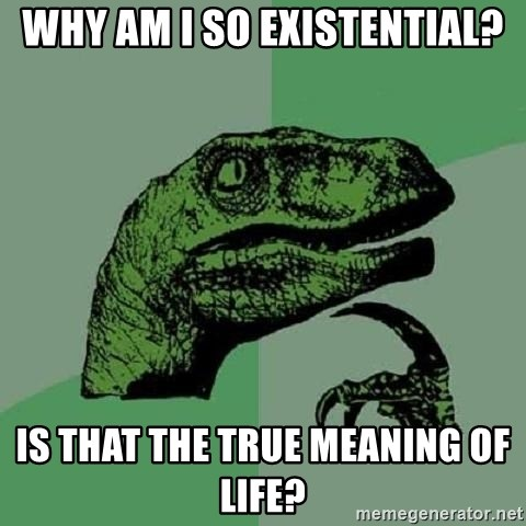 Philosoraptor - Why am i so existential? Is that the true meaning of life?