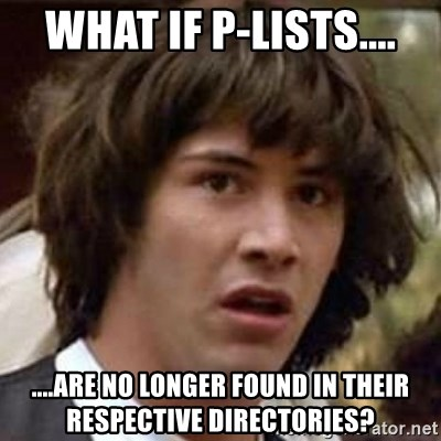 Conspiracy Keanu - What if p-lists.... ....are no longer found in their respective directories?