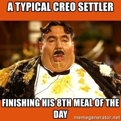 Fat Guy - A Typical Creo Settler Finishing his 8th meal of the day