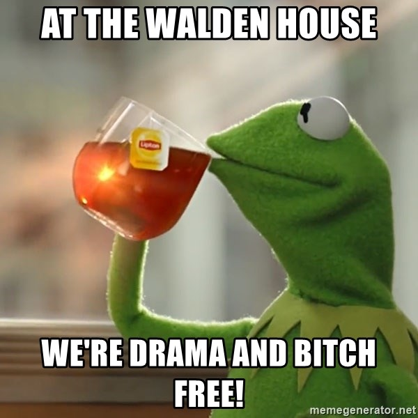 Kermit The Frog Drinking Tea - At The Walden House We're drama and bitch free!