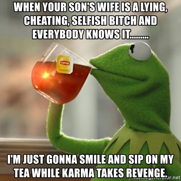 Kermit The Frog Drinking Tea - When your son's wife is a lying, cheating, selfish bitch and everybody knows it......... I'm just gonna smile and sip on my tea while Karma takes revenge.