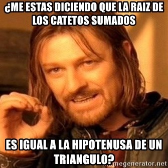 One Does Not Simply - ¿Me estas diciendo que la raiz de los catetos sumados  es igual a la hipotenusa de un triangulo?