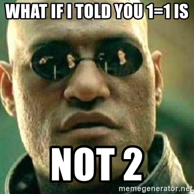 What If I Told You - What if i told you 1=1 is  NOT 2