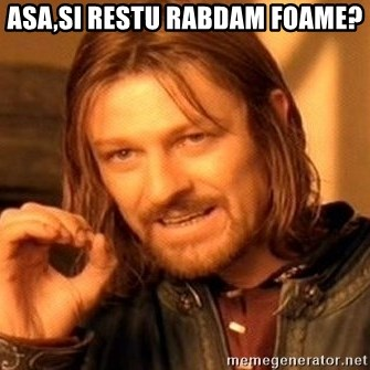 One Does Not Simply - Asa,si restu rabdam foame?