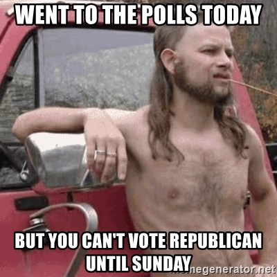 Almost Politically Correct Redneck - Went to the polls today But you can't vote republican until Sunday