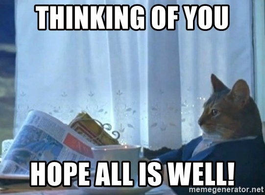 newspaper cat realization - Thinking of you Hope all is well!