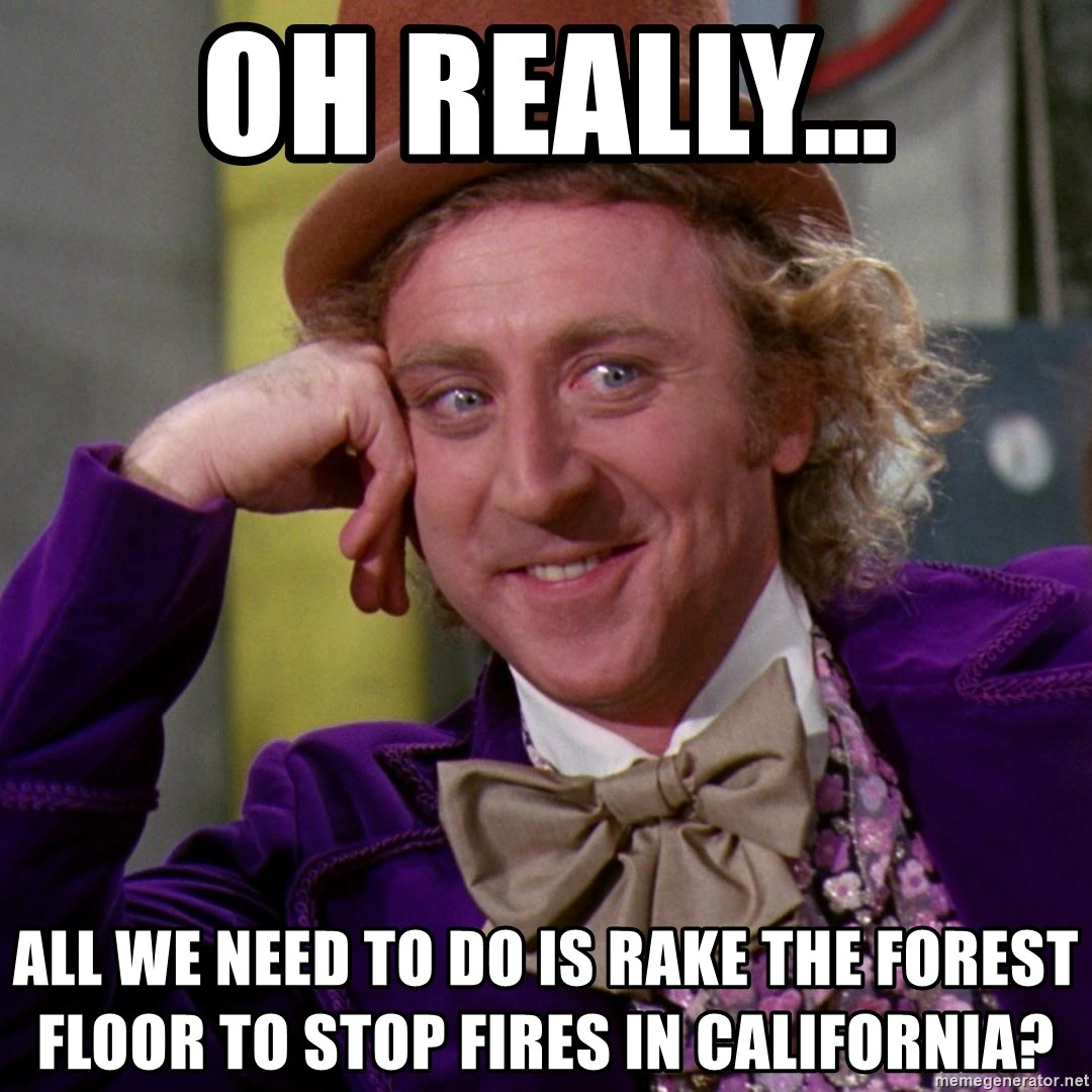 Willy Wonka - Oh really... All we need to do is rake the forest floor to stop fires in california?