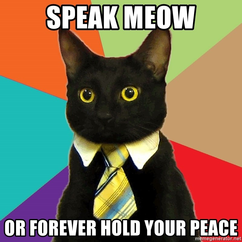 Business Cat - SPEAK MEOW OR FOREVER HOLD YOUR PEACE