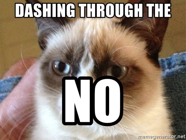 Angry Cat Meme - Dashing through the  NO