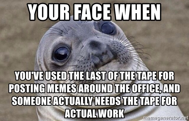 Awkward Seal - Your face when you've used the last of the tape for posting memes around the office, and someone actually needs the tape for actual work