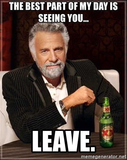 The Most Interesting Man In The World - The best part of my day is seeing you... Leave.