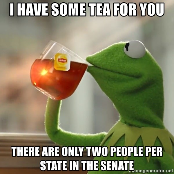 Kermit The Frog Drinking Tea - I have some tea for you There are only two people per state in the senate
