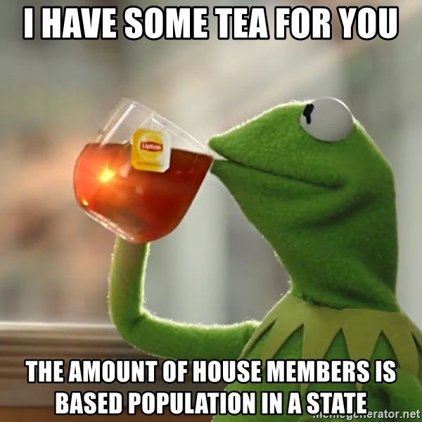 Kermit The Frog Drinking Tea - I have some tea for you The amount of house members is based population in a state