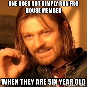 One Does Not Simply - One does not simply run fro house member when they are six year old