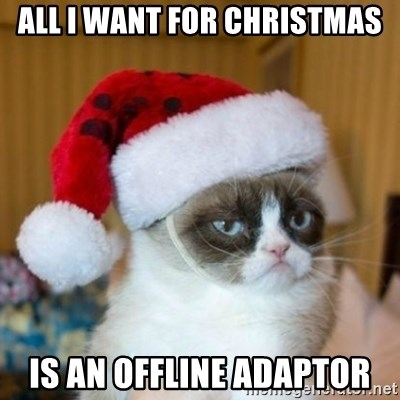 Grumpy Cat Santa Hat - All I want for christmas Is an offline adaptor
