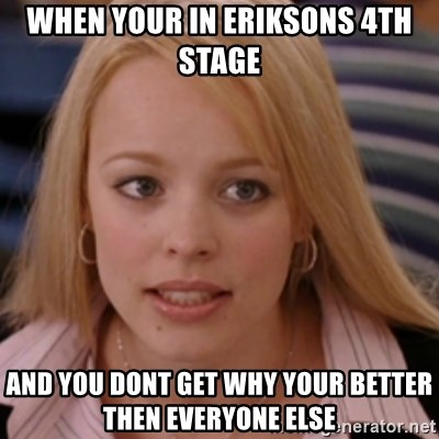 mean girls - when your in eriksons 4th stage and you dont get why your better then everyone else