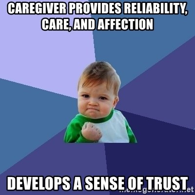 Success Kid - caregiver provides reliability, care, and affection Develops a sense of trust