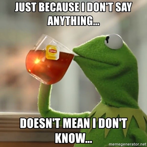 Kermit The Frog Drinking Tea - just because i don't say anything... doesn't mean i don't know...