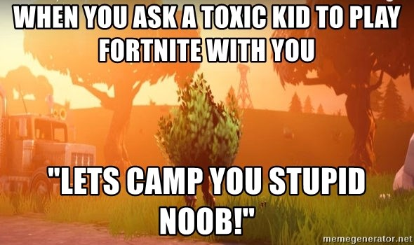 "Fortnite bushy boi - When you ask a toxic kid to play Fortnite with you ""Lets camp you stupid noob!"""
