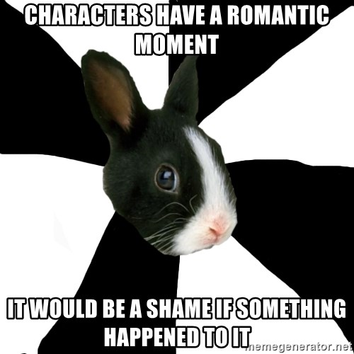 Roleplaying Rabbit - characters have a romantic moment It Would Be a Shame If Something Happened to It