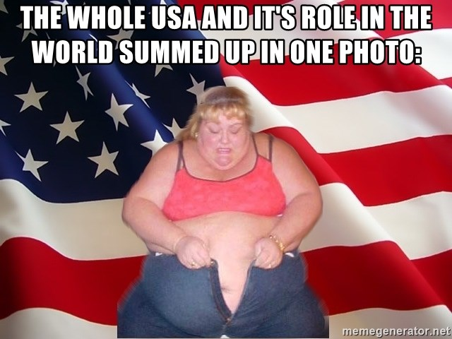 Asinine America - the whole usa and it's role in the world summed up in one photo: