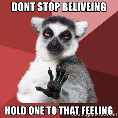 Chill Out Lemur - dont stop beliveing hold one to that feeling