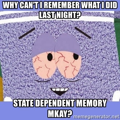 Towelie - Why can't I remember what I did last night? State Dependent Memory MKay?