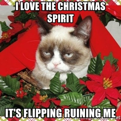Grumpy Christmas Cat - i love the christmas spirit it's flipping ruining me