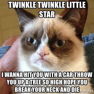 Grumpy Cat  - twinkle twinkle little star  i wanna hit you with a car throw you up a tree so high hope you break your neck and die