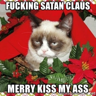 Grumpy Christmas Cat - Fucking Satan Claus    Merry kiss my ass