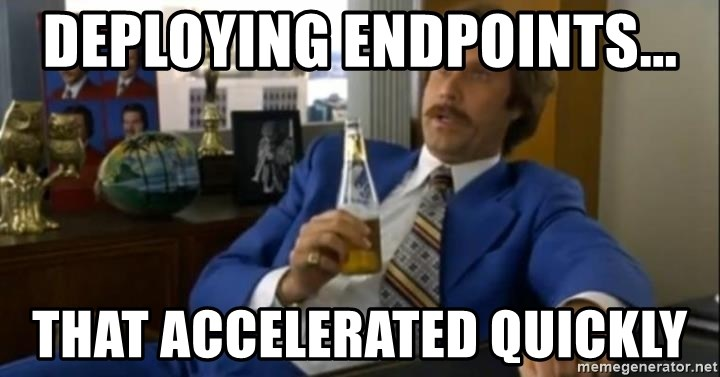 That escalated quickly-Ron Burgundy - Deploying endpoints... That Accelerated quickly